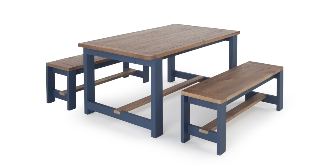 Dining Table And Bench Set, Solid Wood And Blue, Bala (View 8 of 20)