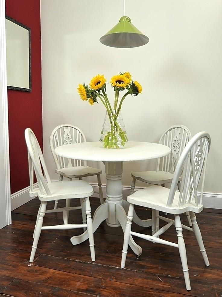 Dining Table And Chair Set Small Round Table Chair Set Painted In With Widely Used Small Round White Dining Tables (Gallery 19 of 20)