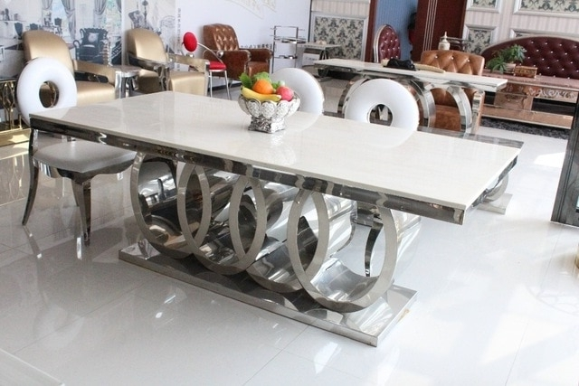 Dining Table Marble And Chair Cheap Modern Dining Tables 8 Chairs In With Regard To Current Dining Tables With 8 Chairs (View 5 of 20)