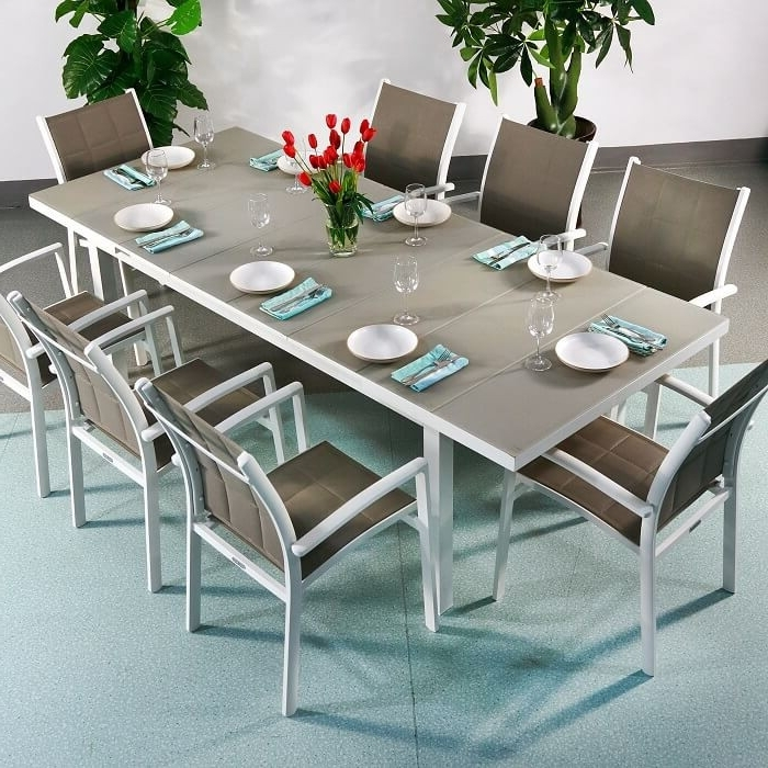 Dining Table Set Beatrice White & Champagne – 8 Person Aluminium With Fashionable 8 Seater White Dining Tables (View 6 of 20)