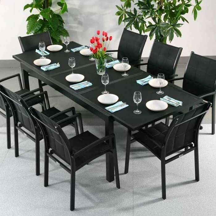 Dining Table Set Florence Black – 8 Person Aluminium & Glass Pertaining To Well Known Extendable Dining Tables With 8 Seats (View 6 of 20)
