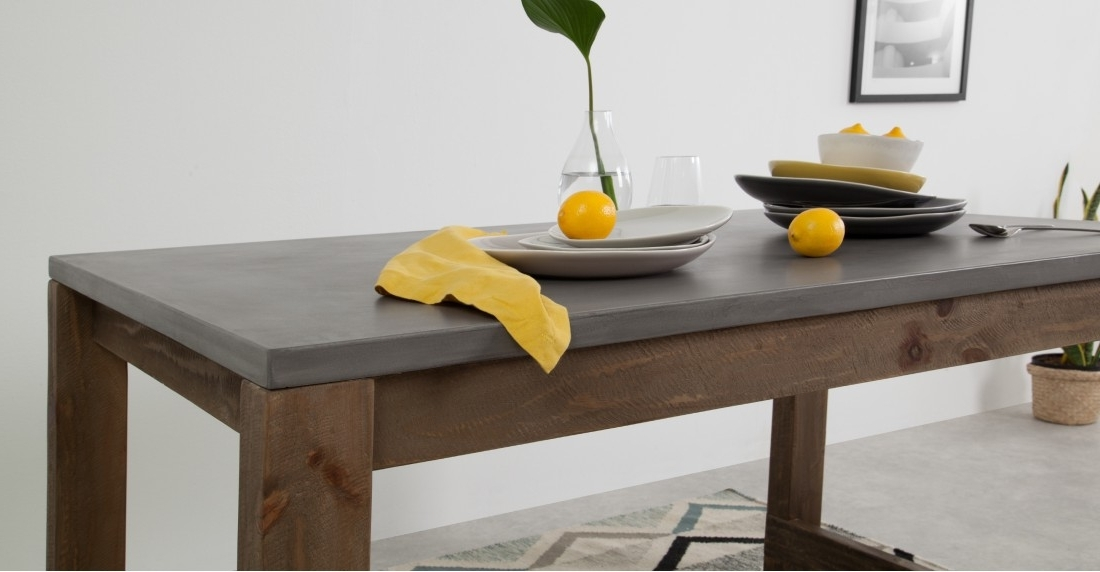 Dining Tables And 2 Benches For Most Recently Released Bala Dining Table And Set Of 2 Bench, Concrete (View 6 of 20)