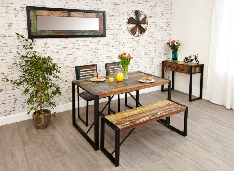 Dining Tables And 2 Benches Intended For 2017 Buy Baumhaus Urban Chic Reclaimed Wood Rectangular Small Dining Set (Gallery 18 of 20)