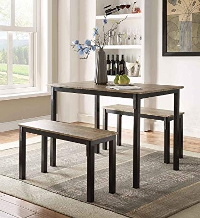 Dining Tables And 2 Benches Throughout Most Recent Amazon – Boltzero Dining Table With 2 Benches – Tables (Gallery 3 of 20)