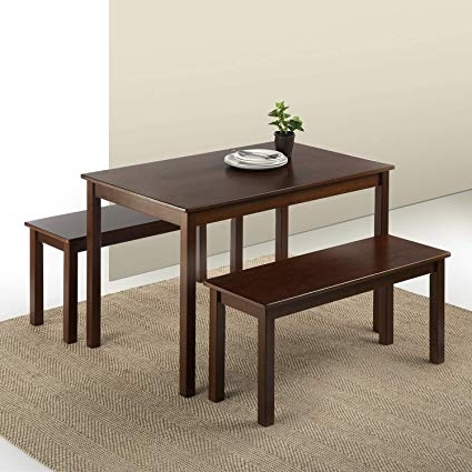 Dining Tables And 2 Benches With Latest Amazon – Zinus Espresso Wood Dining Table With 2 Benches / 3 (Gallery 11 of 20)