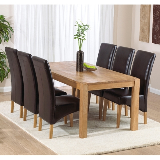 Dining Tables And 6 Chairs With Most Up To Date Milan Oak Dining Table And 6 Roma Dining Chairs 14078 (Gallery 1 of 20)