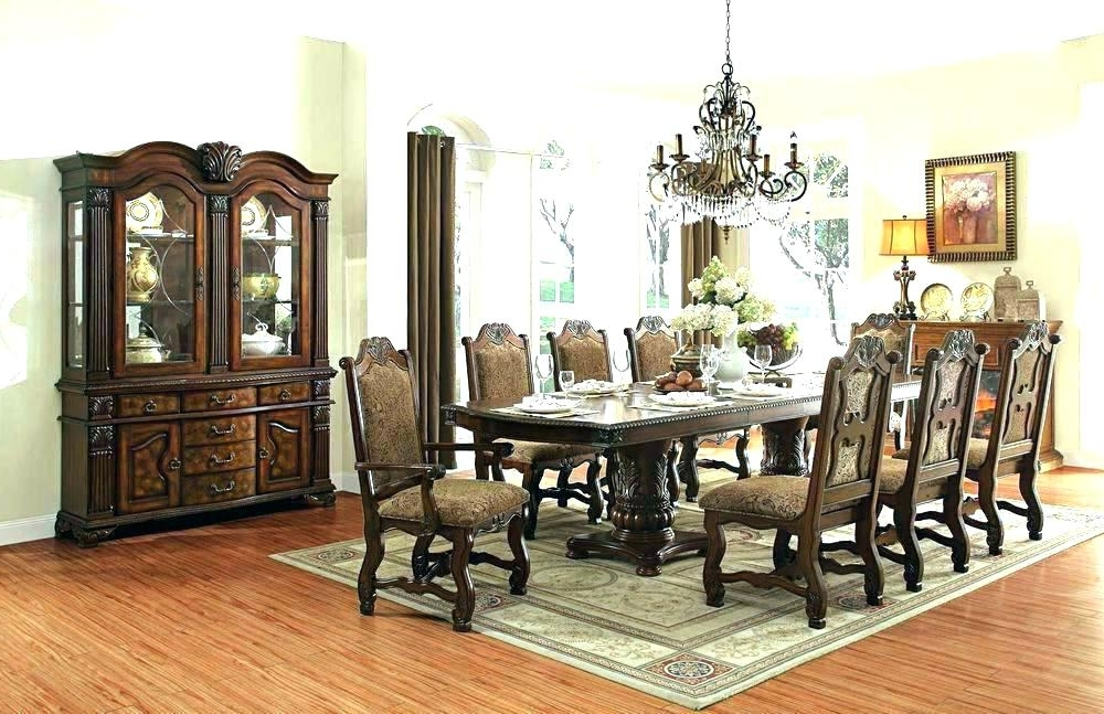 Dining Tables And 8 Chairs Sets For Well Known Dining Table And 8 Chair Sets Round For Chairs Set Room Rattan (View 9 of 20)