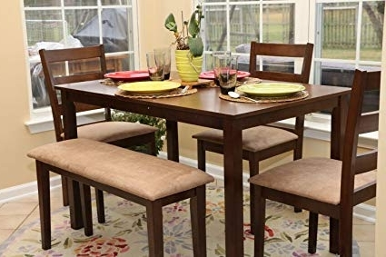 Dining Tables And Chairs Sets With Trendy Amazon – 5Pc Dining Dinette Table Chairs & Bench Set New Walnut (Gallery 18 of 20)