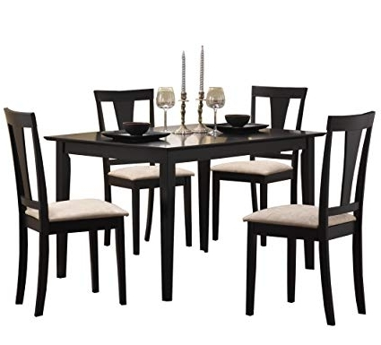 Dining Tables And Chairs Sets Within Favorite Amazon – Coaster 5Pc Casual Dining Table And Chairs Set In Black (View 12 of 20)