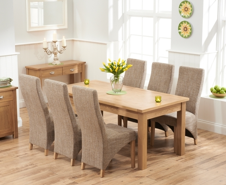 Dining Tables And Fabric Chairs Inside Popular Udine Solid Oak 180Cm Extending Dining Set With 6 Barrow Tweed (Gallery 18 of 20)
