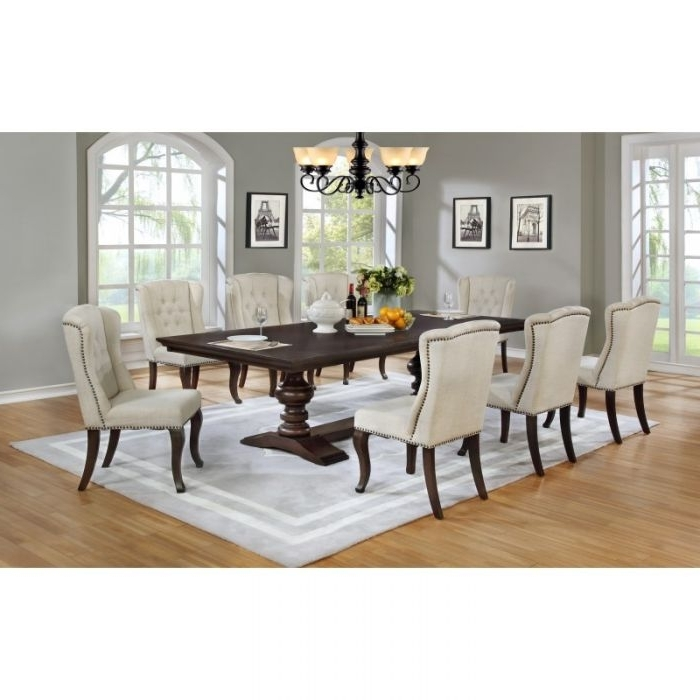 Dining Tables And Fabric Chairs Intended For Famous Best Quality 9Pc Cappuccino Dining Table Set Nail Head Fabric Chairs (Gallery 6 of 20)