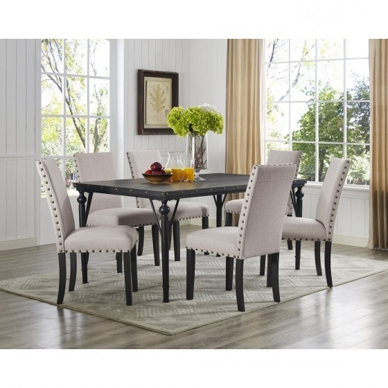 Dining Tables And Fabric Chairs Throughout 2017 Beige 7 Pc Dining Set With Fabric Chairs Br04 167 70 Bei (View 10 of 20)