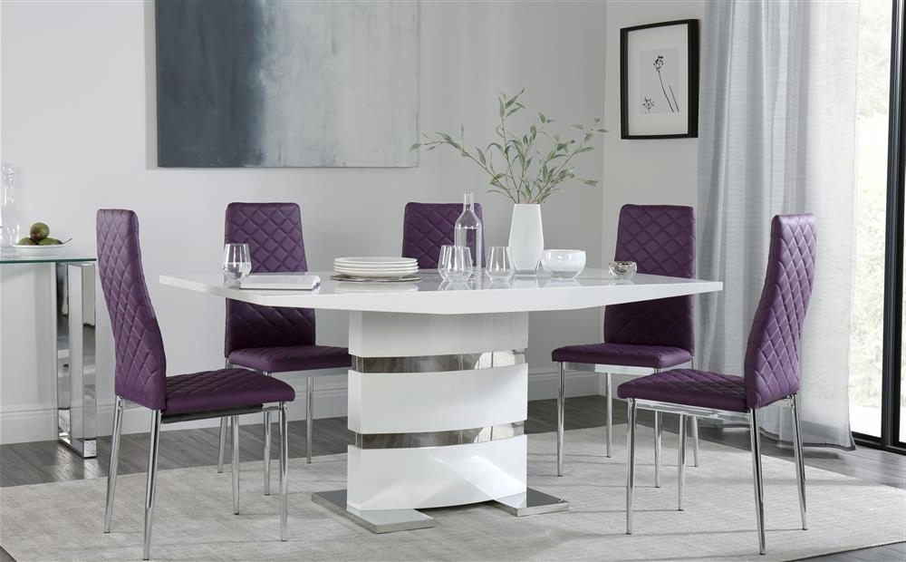 Dining Tables And Purple Chairs Intended For Trendy Komoro White High Gloss Dining Table With 6 Renzo Purple Chairs Only (View 2 of 20)