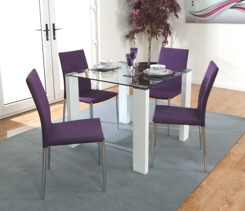Dining Tables And Purple Chairs Pertaining To Favorite Buy Acton Dining Set With 4 Purple Chairs The Furn Shop (View 3 of 20)