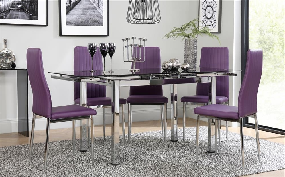 Dining Tables And Purple Chairs Regarding Best And Newest Space Chrome & Black Glass Extending Dining Table With 6 Leon Purple (View 4 of 20)
