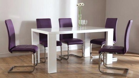Dining Tables And Purple Chairs Regarding Famous Purple Kitchen Table And Chairs Dining Sets With Chairs Ideal Glass (View 5 of 20)