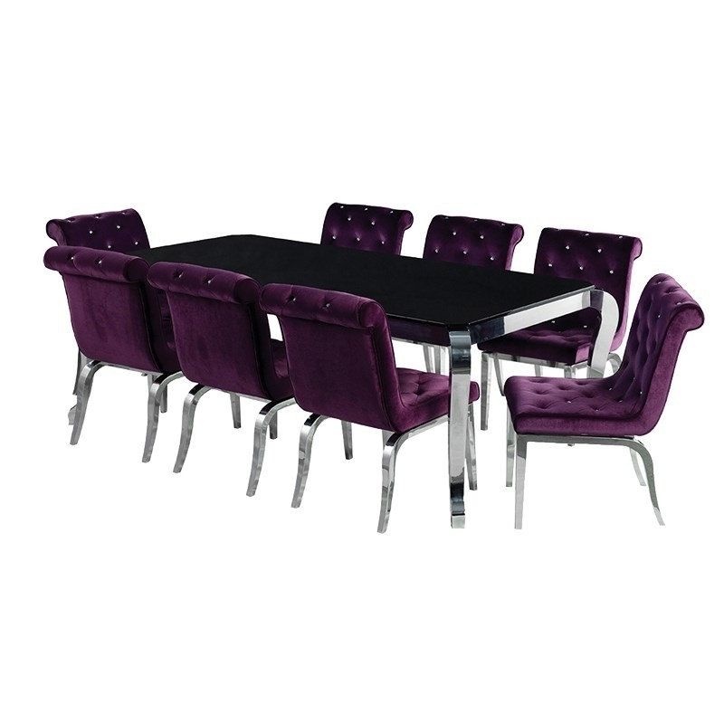 Dining Tables And Purple Chairs With Regard To Most Up To Date Purple/ Chrome Chair With Jewelled Buttons (View 6 of 20)