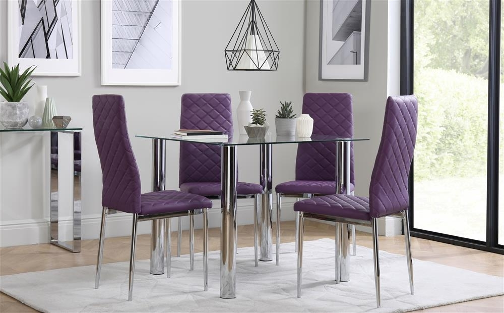 Dining Tables And Purple Chairs Within Newest Nova Square Chrome And Glass Dining Table With 4 Renzo Purple Chairs (View 7 of 20)