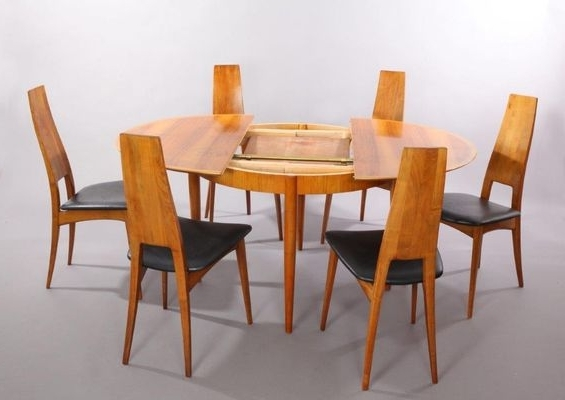 Dining Tables And Six Chairs Pertaining To Current German Cherry Wood Extendable Dining Table With Six Chairsernst (View 7 of 20)