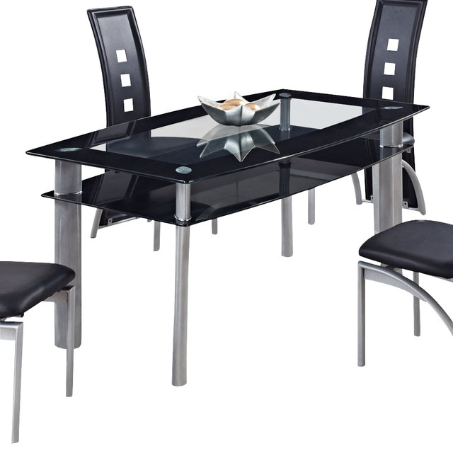 Dining Tables Black Glass For Trendy Global Furniture Usa 1058Dt Rectangular Black Glass Dining Table (View 3 of 20)