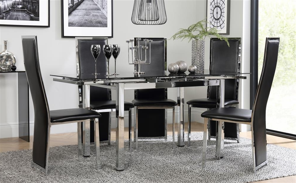 Dining Tables Black Glass Within Most Popular Space Chrome & Black Glass Extending Dining Table With 6 Celeste (View 5 of 20)