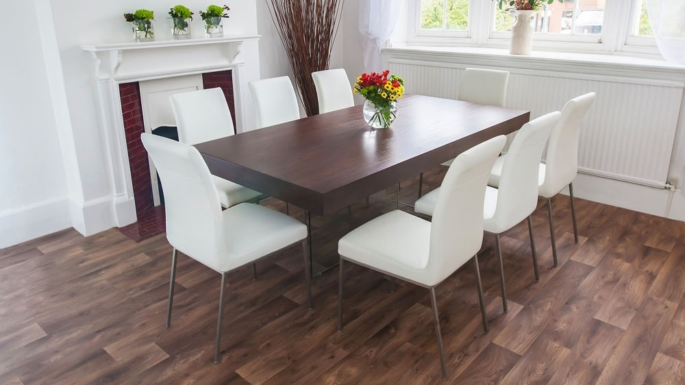 Dining Tables Dark Wood With Regard To Well Known Dark Wood Funky Dining Set Glass Legs And Chunky Table Top With Dark (Gallery 20 of 20)
