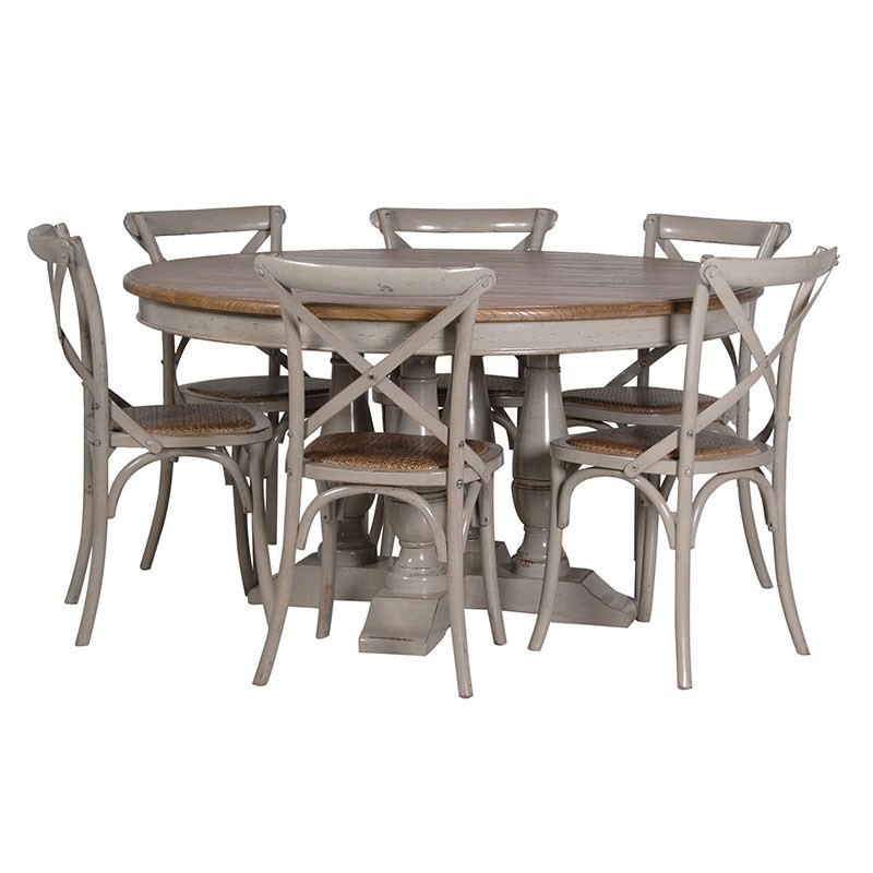 Dining Tables Grey Chairs Regarding Most Popular Gloucester Grey Distressed Round Dining Table (View 18 of 20)