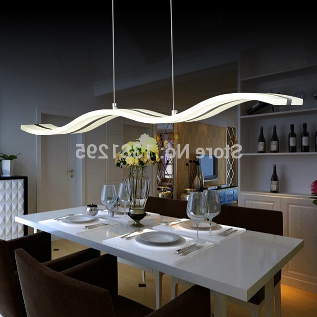 Dining Tables Lights With Most Recent Led Pendant Lights Modern Design Kitchen Acrylic Suspension Hanging (Gallery 6 of 20)