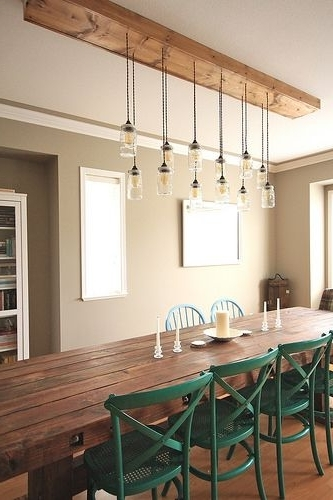 Dining Tables Lights With Trendy First Time Fancy Dining Room – Diy Dining Table & Light Fixture (Gallery 2 of 20)