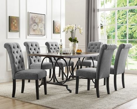 Dining Tables With 6 Chairs Throughout Most Popular Brassex Inc Soho 7 Piece Dining Set, Table + 6 Chairs, Grey (View 9 of 20)