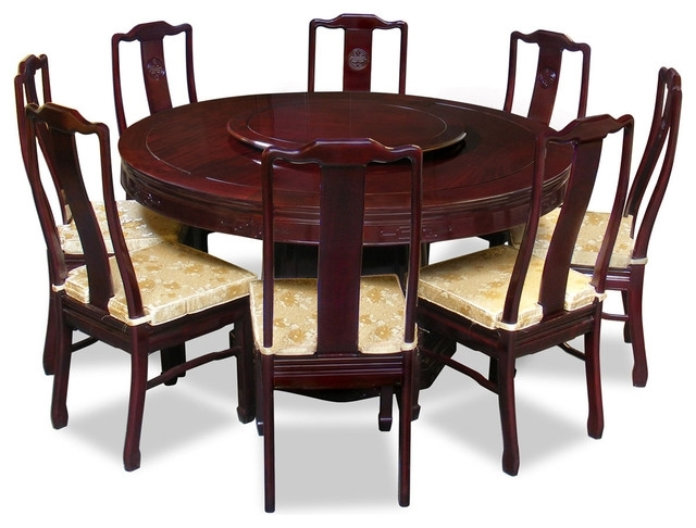 "Dining Tables With 8 Chairs Intended For Trendy 60"" Rosewood Longevity Design Round Dining Table With 8 Chairs (View 7 of 20)"