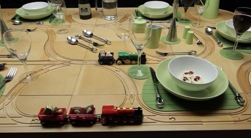 Dining Tables With Built In Toy Train Tracks – Designtaxi Intended For Well Known Railway Dining Tables (View 4 of 20)