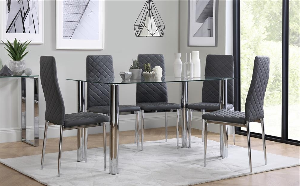 Dining Tables With Grey Chairs For 2017 Lunar Chrome And Glass Dining Table With 4 Renzo Grey Chairs Only (Gallery 16 of 20)
