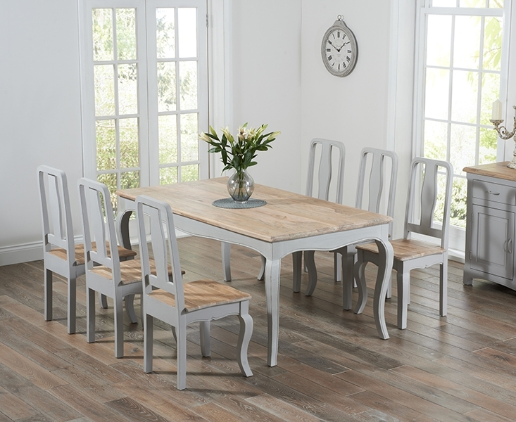 Dining Tables With Grey Chairs For Recent Parisian 175Cm Grey Shabby Chic Dining Table With Chairs (View 7 of 20)