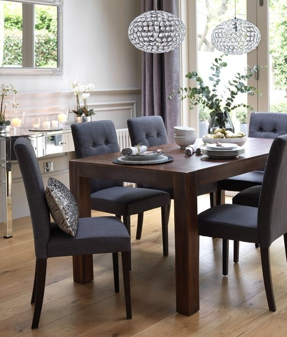 Dining Tables With Grey Chairs With Regard To Most Popular Home Dining Inspiration Ideas. Dining Room With Dark Wood Dining (Gallery 4 of 20)