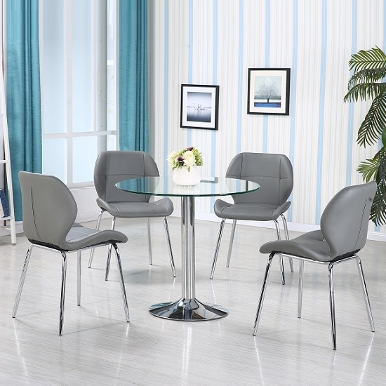 Dining Tables With Grey Chairs Within Preferred Dante Glass Dining Table In Clear With 4 Grey Darcy Chairs (Gallery 11 of 20)