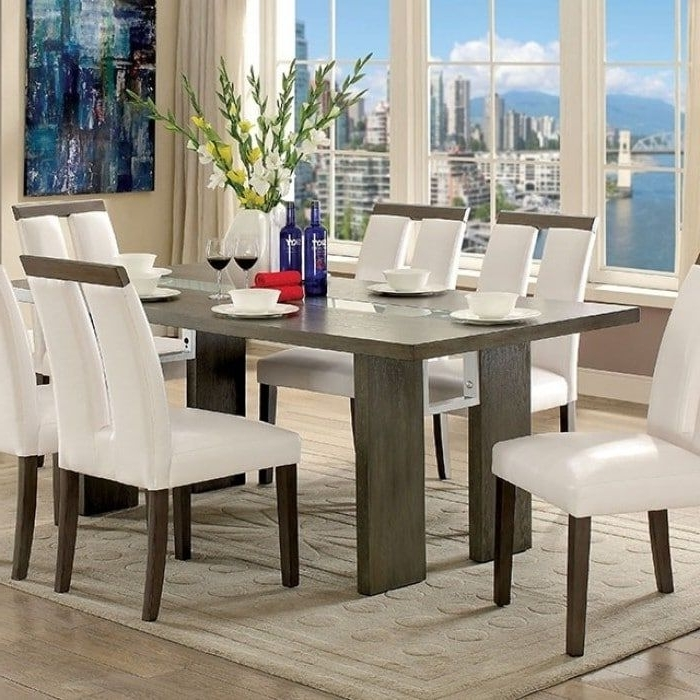 Dining Tables With Led Lights Inside Best And Newest Benzara Luminar I Contemporary Style Gray Wood Dining Table With Led (View 17 of 20)