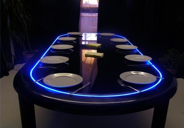 Dining Tables With Led Lights Inside Most Up To Date Eat Now, Poker Later: The Convertible Dining And Game Table (Gallery 6 of 20)