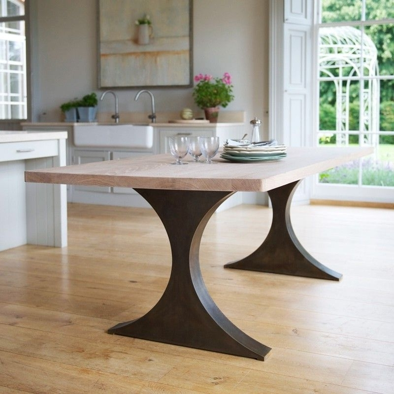 Dining Tables With Metal Legs Wood Top Intended For Fashionable Paris Rectangular Dining Table With Metal Legs And Wood Top Tom (Gallery 6 of 20)