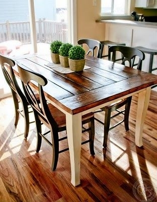 Dining Tables With White Legs And Wooden Top Pertaining To Current White/cream Table Base With Stained Brown Top, Then Black Chairs (Gallery 2 of 20)