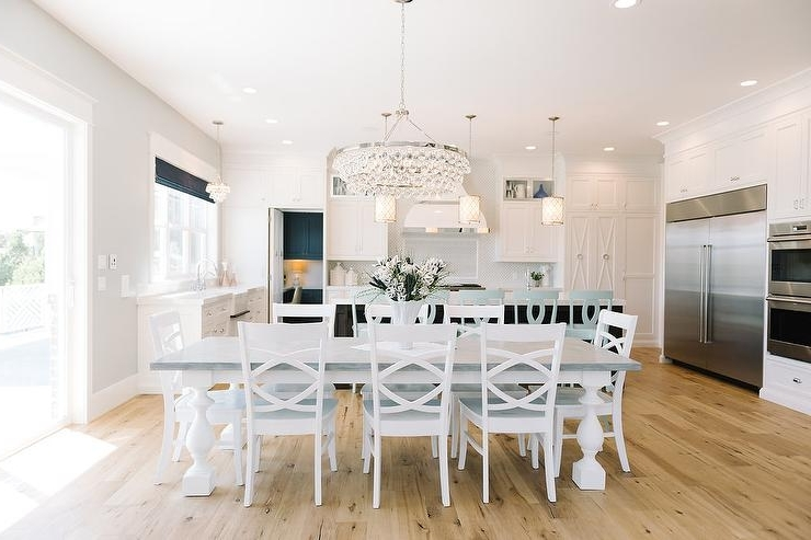 Dining Tables With White Legs With Regard To Well Liked White Dining Table With Gray Top And Turned Legs – Transitional (View 12 of 20)