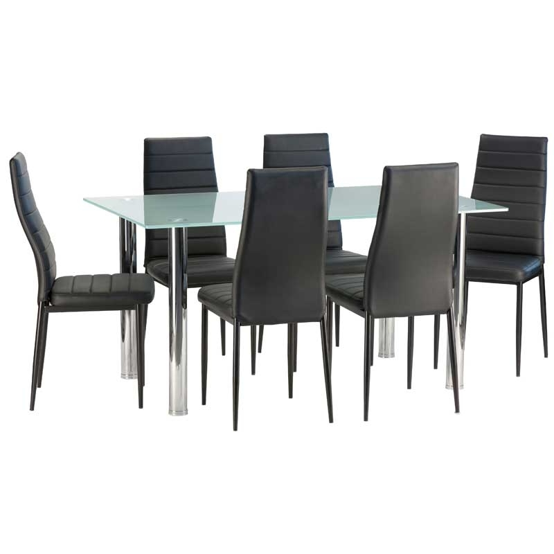 Dior Frosted Glass Dining Table & 6 X Betty Dining Chair • Decofurn Pertaining To Most Popular Smoked Glass Dining Tables And Chairs (View 4 of 20)