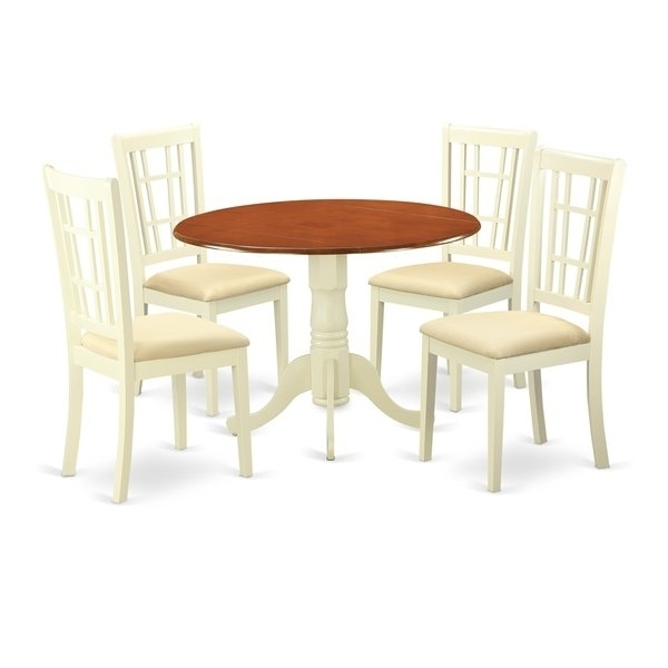 Dlni5 Bmk 5 Pc Dinette Set For 4 Dining Table And 4 Dinette Chairs Regarding Preferred Caden 5 Piece Round Dining Sets With Upholstered Side Chairs (Gallery 17 of 20)