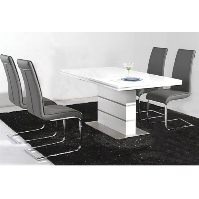 Dolores High Gloss Dining Table +4 Chairs For Favorite Black High Gloss Dining Tables And Chairs (View 8 of 20)