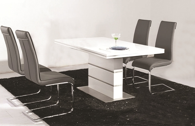 Dolores High Gloss Dining Table 4 Faux Leather Chrome Chairs In Recent Chrome Dining Tables (View 5 of 20)