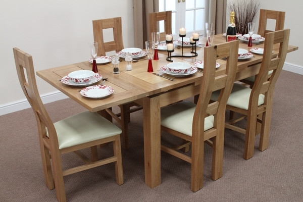 "Dorset 4Ft 7"" X 3Ft Solid Oak Extending Dining Table + 6 Cream Wave Within Well Known 3Ft Dining Tables (View 9 of 20)"
