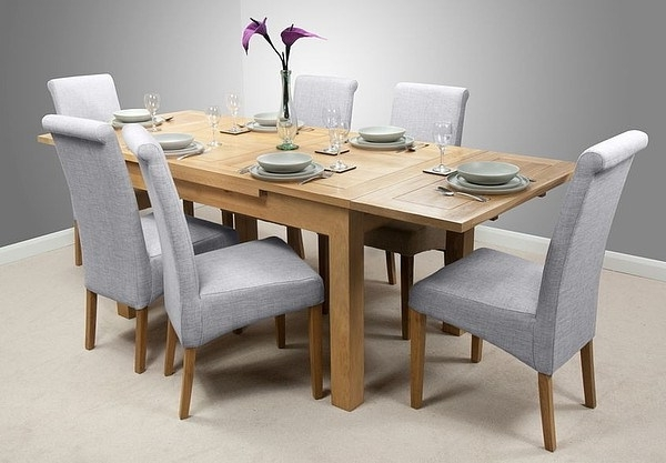 Dorset 4Ft 7″ X 3Ft Solid Oak Extending Dining Table + 6 Light Grey Pertaining To Most Current Light Oak Dining Tables And 6 Chairs (View 4 of 20)