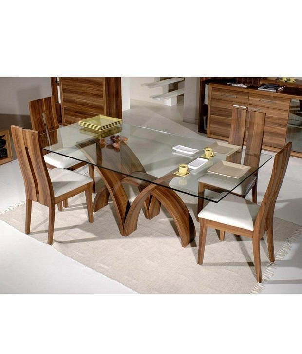 Dream Furniture Teak Wood 6 Seater Luxury Rectangle Glass Top Dining With Well Liked Glass Dining Tables Sets (Gallery 18 of 20)