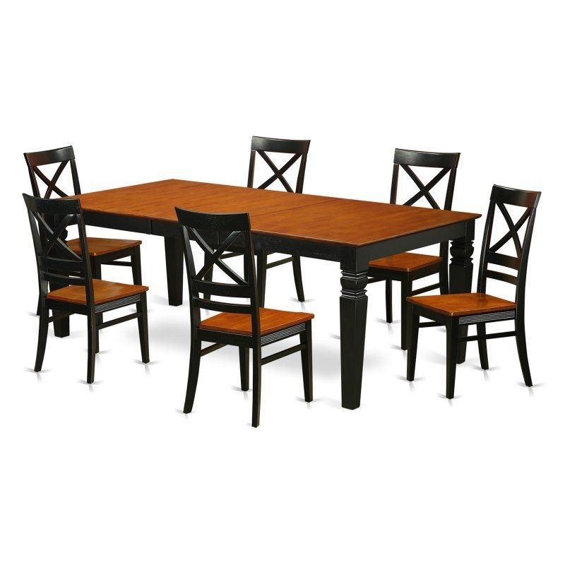 East West Furniture Logan 7 Piece Cross And Ladder Dining Table Set With Regard To Popular Logan 7 Piece Dining Sets (View 4 of 20)
