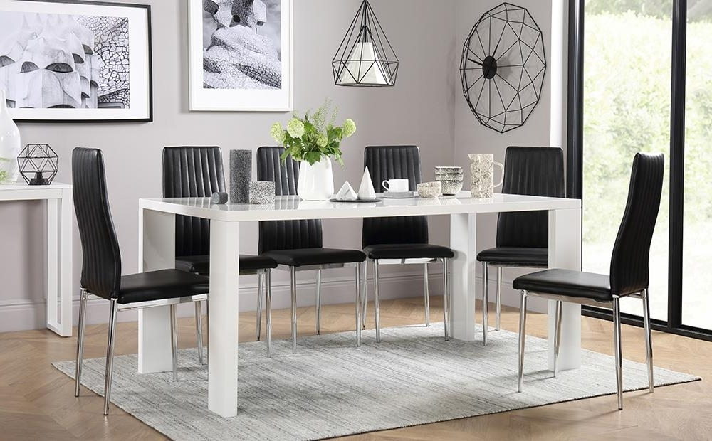 Eden 170Cm White High Gloss Dining Table With 8 Leon Black Only For Most Popular White Gloss Dining Room Tables (Gallery 19 of 20)